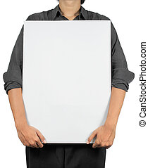 holding a blank white board