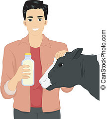 Man Holding a Bottle of Cow Milk