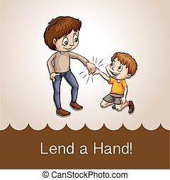 Man holding a boy's hand
