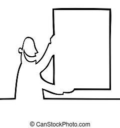 Black line art illustration of a man holding a bulletin board.