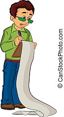 Man Holding a Clipboard, illustration - Man Holding a...