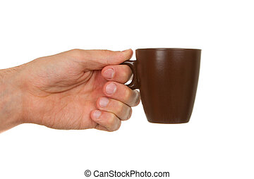 Man holding a cup of coffee