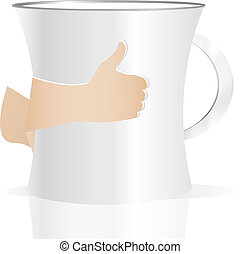Man holding a cup of coffee, isolated on white