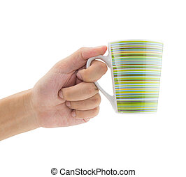 Man holding a cup of coffee on white background