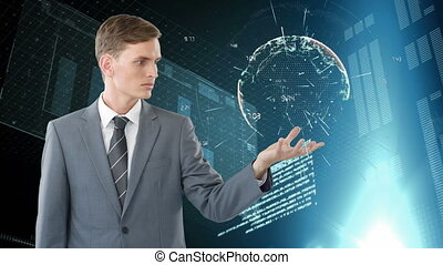 Man holding a digital globe