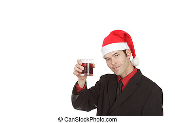 Man holding a drink at a Xmas Party