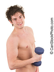 Man holding a dumbell weight