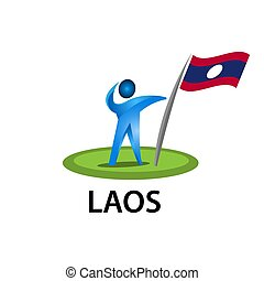 Man holding a flag of Laos, Vector illustration on white background.