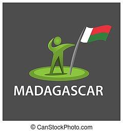 Man holding a flag of Madagascar, Vector illustration on gray background.