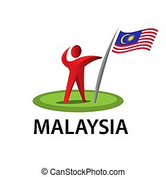 Man holding a flag of Malaysia, Vector illustration on white background.