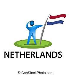 Man holding a flag of Netherlands, Vector illustration on white background.