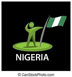 Man holding a flag of Nigeria, Vector illustration on black background.