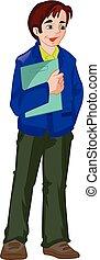 Man Holding a Folder, illustration