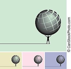 Man holding a globe overhead