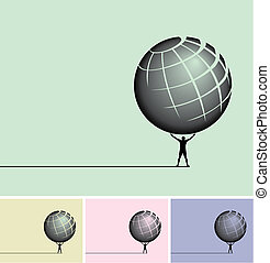 Man holding a globe overhead in four different windows