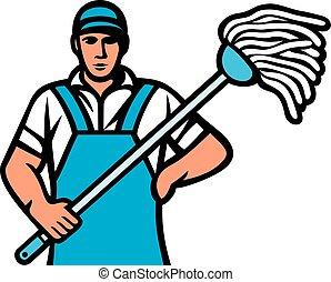 man holding a mop