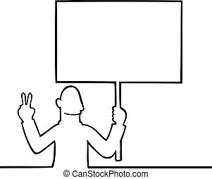 Man holding a peace protest sign
