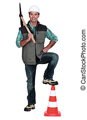 Man holding a pickaxe