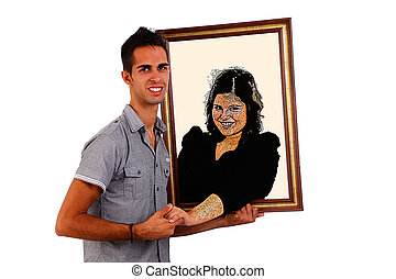 man holding a picture  of his loved, that comes to life and gives him a hand, isolated on white, studio shot