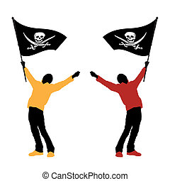 man holding a pirate flag