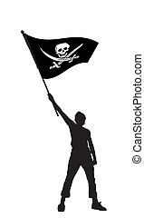 man holding a pirate flag, vector illustration