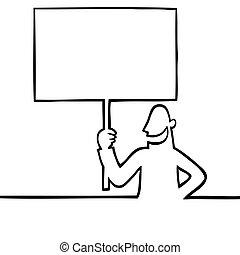 Man holding a protest sign - Black line art illustration of...