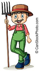 Man holding a rake