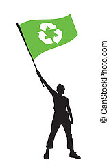 man holding a recycle flag
