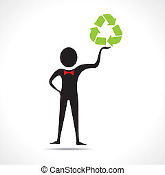 Man holding a recycle icon
