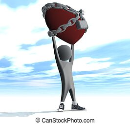 man holding a red heart in chains