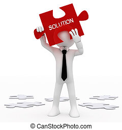 Man holding a red puzzle piece with the word, solution