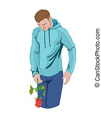 Man holding a rose in his hand. Sport clothes. Colorful