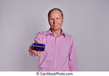 Man holding a small box
