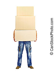 man holding a stack of cardboard boxes