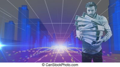 Animation of man carrying stack of office files over digital interface 3d blue glowing architectural model of cityscape. Global technology network concept digitally generated image.