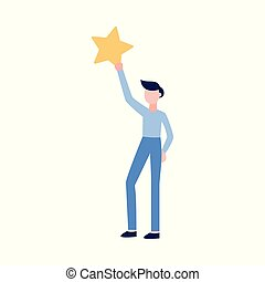 Man holding a star the icon of rating vector illustration isolated on white.