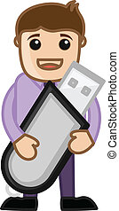 Man Holding a Storage Device Vector