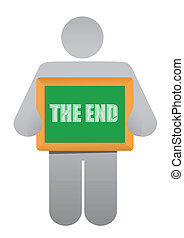 "man holding a ""the end"" board"