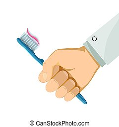 Man holding a toothbrush in his hand. Hygiene and caries prevent