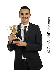 man holding a trophy