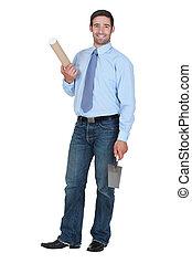 man holding a trowel