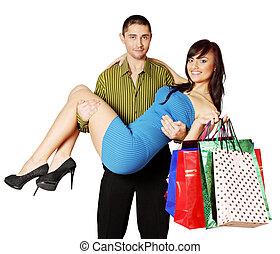 man holding a woman