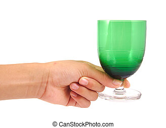 Man holding an antique and green glass of wine isolated on a white background