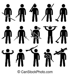 Man Holding and Using Weapons - A set of human pictogram...