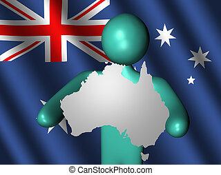 Man holding Australia map