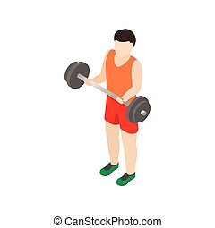 Man holding barbell icon, isometric 3d style