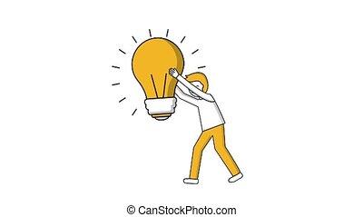 man holding big bulb light creativity idea
