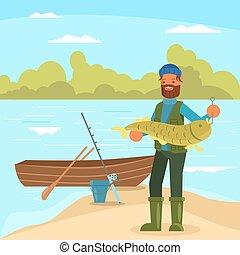 Man holding big fish vector illustration in flat style