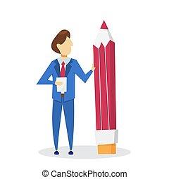 Man holding big pencil. Businessman in suit