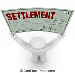 Man Holding Big Settlement Check Agreement Money - A man...